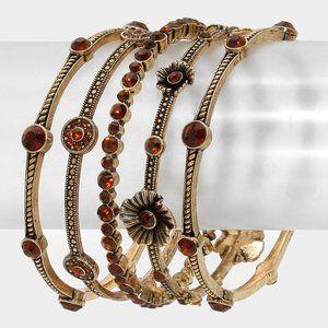 5pcs Crystal Station Flower Stack Bracelets- Brown
